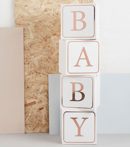 XXL-Baby-Würfel aus Pappe - weiss, rosegold - 4 Stück