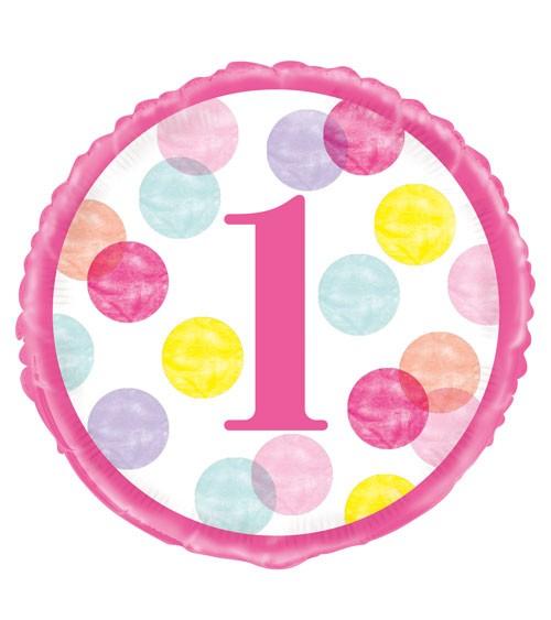 "Runder Folienballon ""1. Geburtstag - pink/pastell"" - 45 cm"