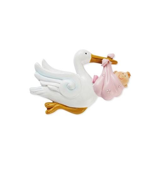 Fliegender Storch mit Baby - 2D - rosa - 6 cm