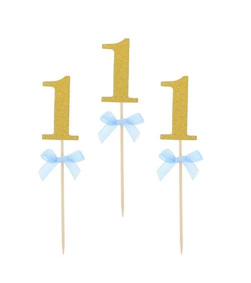 """Cake-Picks mit blauer Schleife """"1"""" - glitter gold - 10 Stück"""