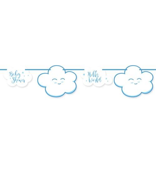 """Motivgirlande """"Wolken Baby Shower"""" - blau - 4 m"""