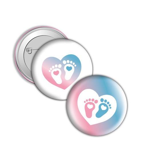 """Button """"Babyfüßchen"""" - rosa/blau"""