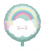 """Runder Folienballon """"Regenbogen und Wolke"""" - 43 cm"""
