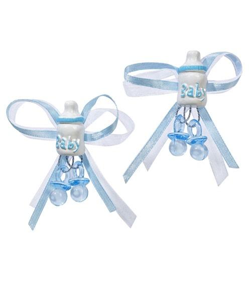 Schleife mit Babyfläschchen und Schnuller - hellblau - 5 cm - 2 Stück