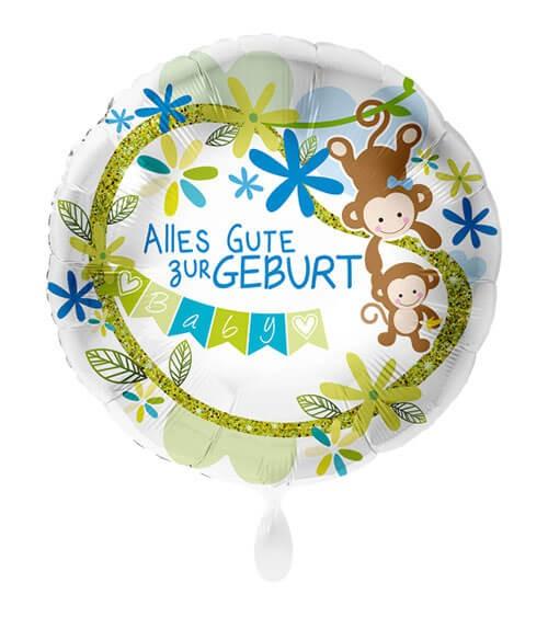 """Folienballon mit Affen """"Alles Gute zur Geburt"""" - blau - 43 cm"""