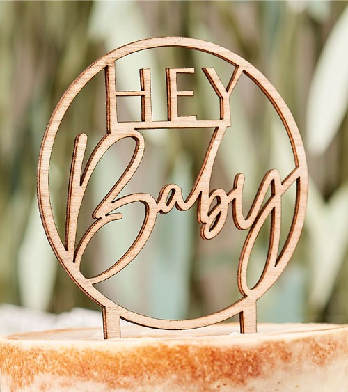 """Cake-Topper aus Holz """"Hey Baby"""""""