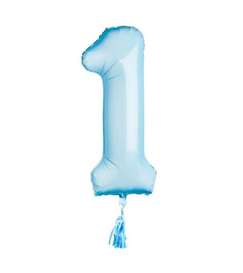 """Folienballon """"1"""" mit Tassel - pastell blau - 38 x 86 cm"""