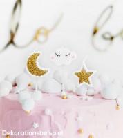 Kuchenkerzen-Set - Wolken, Sterne, Mond - 5-teilig