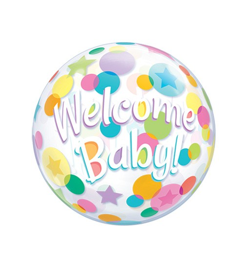 "Kugelballon ""Welcome Baby"" mit bunten Punkten - 56 cm"