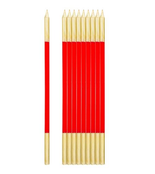 Lange Kuchenkerzen - gold & rot - 16 cm - 10 Stück