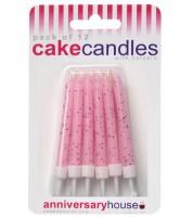 Kuchenkerzen mit Glitter - rosa - 12 Stück