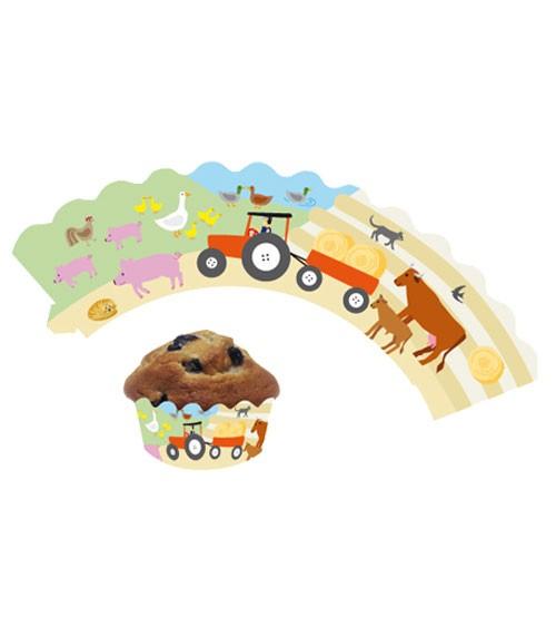 """Cupcake-Wrapper """"Bauernhof"""" - 12 Stück"""