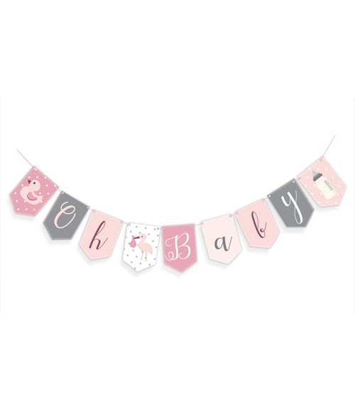 """Wimpelgirlande """"Oh Baby"""" - rosa - 2,5 m"""