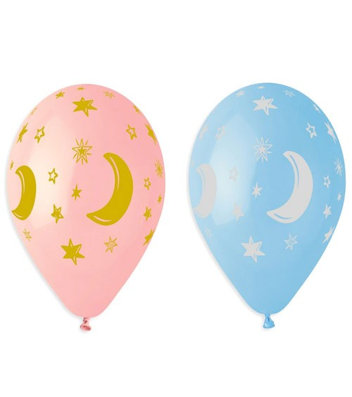 "Luftballon-Set ""Mond & Sterne"" - rosa & hellblau - 5 Stück"