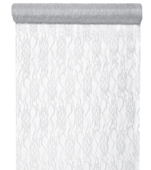 Weißer Spitzen-Tischläufer mit Silberglitzer - 28 cm x 5 m