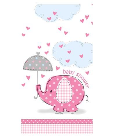 """Plastiktischdecke """"Babyfant rosa"""""""