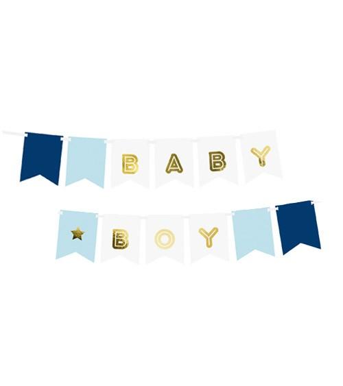 """DIY-Wimpelgirlande """"Baby Boy"""" - blau/weiß/gold - 1,6 m"""