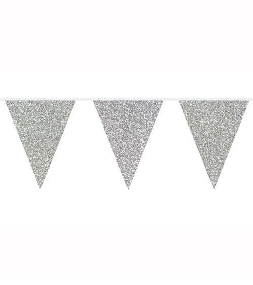 Wimpelgirlande mit Glitter - silber - 6 m