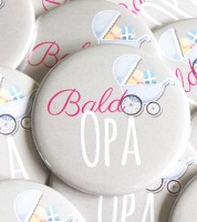 "Button ""Bald Opa"" - pink - 56 mm"