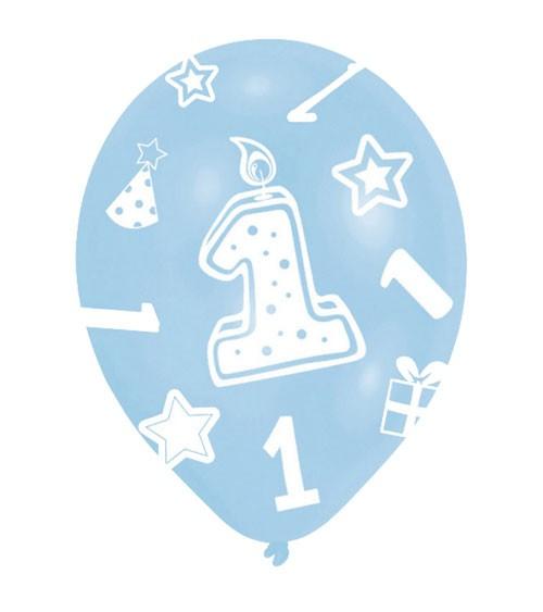 """Luftballon-Set """"1"""" - hellblau/mittelblau - 6 Stück"""