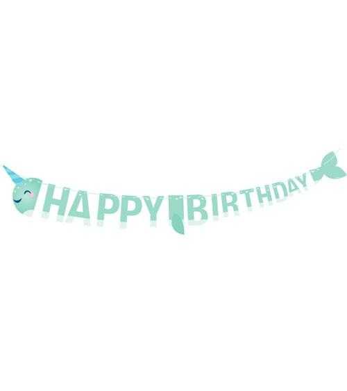 """Happy Birthday-Girlande """"Narwal-Party"""" - 2 m"""