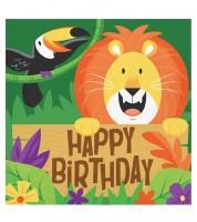"""Servietten """"Dschungel Safari"""" - Happy Birthday - 16 Stück"""