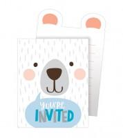 """Einladungskarten """"Kleiner Bär"""" - 8 Stück"""