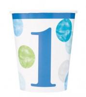 """Pappbecher """"1. Geburtstag - blau/pastell"""" - 8 Stück"""