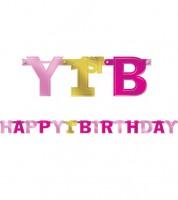 """Girlande """"Happy 1st Birthday"""" - rosa/gold - 2,13 m"""