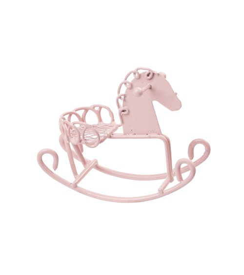 Deko-Schaukelpferd aus Metall - rosa - 5 cm