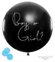 "Schwarzer Riesenballon mit blauem Konfetti ""Boy or Girl?"" - 1 m"