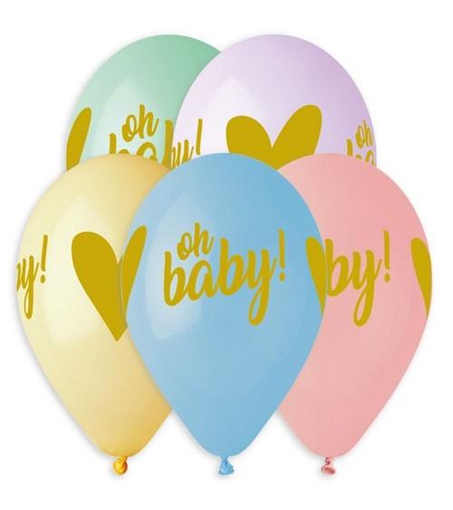"Luftballon-Set ""Oh Baby!"" - Farbmix Pastell - 5 Stück"