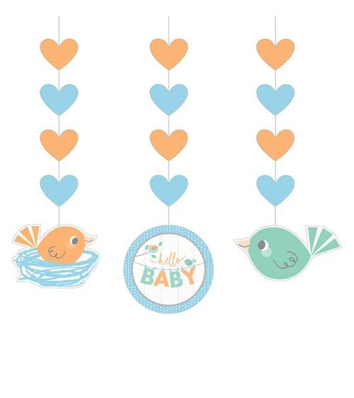 """3er-Motivgirlande """"Hello Baby - blau"""""""