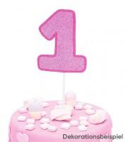 "Cake-Topper-Zahl aus Pappe ""1"" - glitter pink"