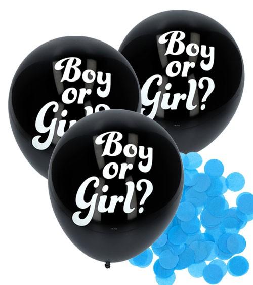 """Schwarze Luftballons mit hellblauem Konfetti """"Boy or Girl?"""" - 3 Stück"""