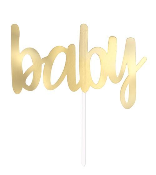 """Cake Topper """"Baby"""" - gold metallic"""