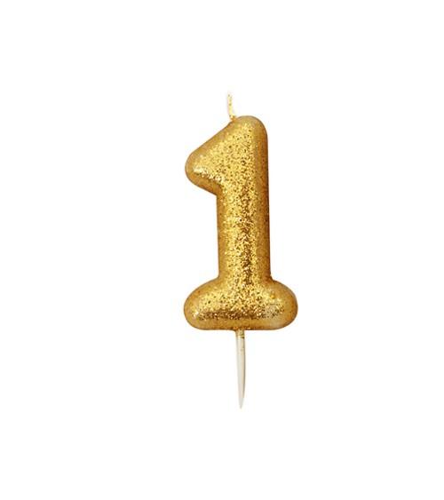 """Geburtstagskerze mit Glitter """"1"""" - gold"""