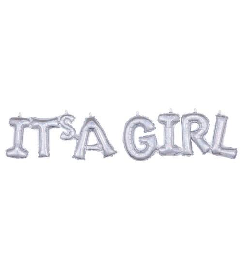 """Schriftzug-Folienballon """"It's a Girl"""" - holographic - 105 x 25 cm"""