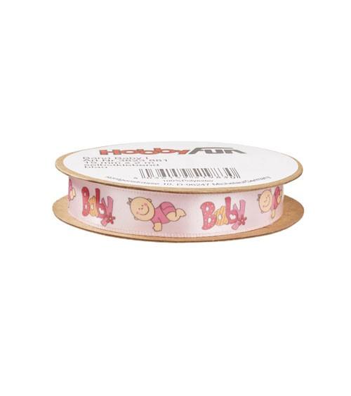 """Selbstklebendes Geschenkband """"Baby"""" - rosa - 15 mm x 2 m"""