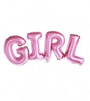 """Schriftzug-Folienballon """"GIRL"""" - rosa - 74 x 33 cm"""