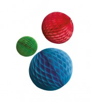 Wabenball-Set - blau, rot, grün - 3-teilig