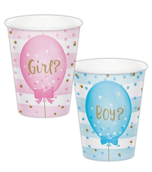 """Pappbecher """"Girl or Boy?"""" - 8 Stück"""