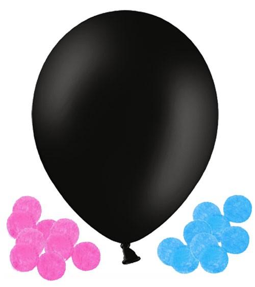 """Schwarzer Riesenballon mit Konfetti """"Gender Reveal"""" - 60,9 cm"""
