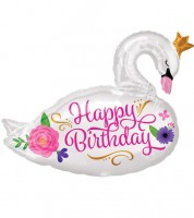 "SuperShape-Folienballon ""Schwan - Happy Birthday"" - 73 x 55 cm"