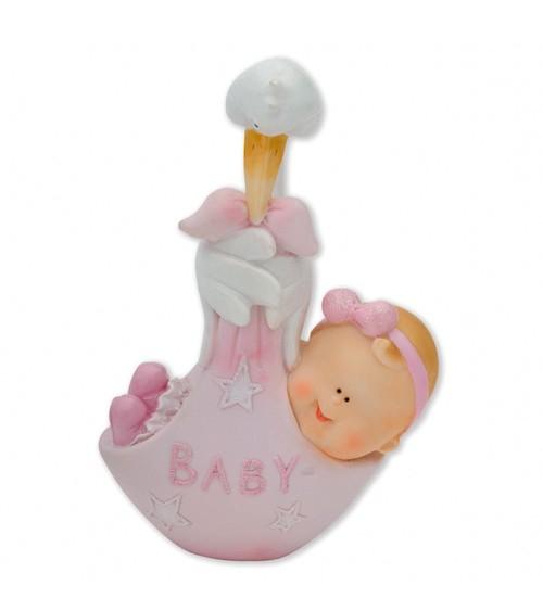 """Deko-Figur """"Storch mit Baby"""" - rosa"""