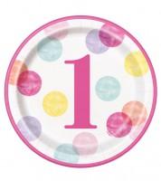 """Pappteller """"1. Geburtstag - pink/pastell"""" - 8 Stück"""
