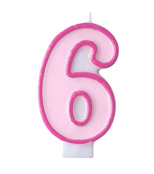 """Geburtstagskerze """"6"""" - rosa/pink"""