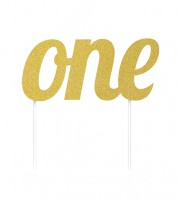 "Tortendekoration ""one"" - glitter gold"