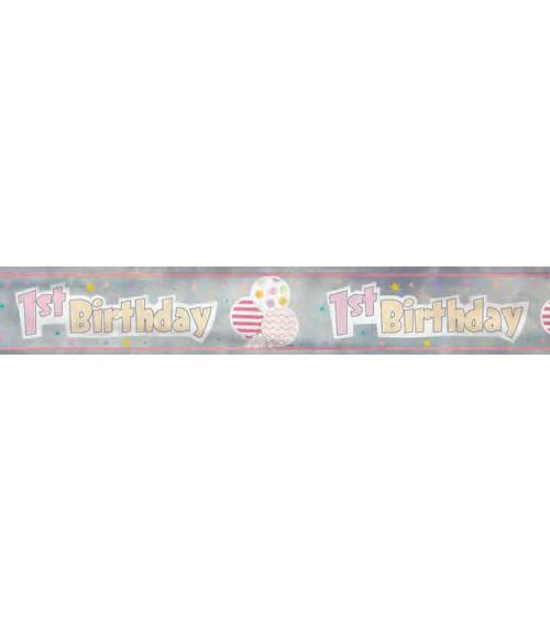 "Folienbanner ""1st Birthday"" - rosa - 3,65 m"