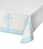 """Kunststoff-Tischdecke """"Hellblaues Kreuz"""" - 137 x 259 cm"""